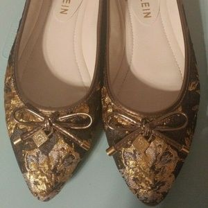 Anne Klein Akovi Bow Ballet Flats Shoes Gold Brown